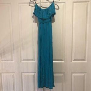 Forever 21 Dresses - Forever 21 Strapless Aqua Maxi Dress